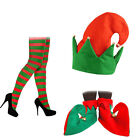 LADIES SANTAS HELPER ELF PIXIE HAT TIGHTS & OR SHOES FANCY DRESS COSTUME