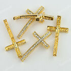 WHOLESALE GOLD CROSS CURVED SIDE WAYS CRYSTAL LOOSE BEADS BRACELET CONNECTOR NEW