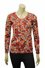 Womens Maine Long Sleeve T-Shirt Multi Floral Print - Red Wine Size 6 to 20 A26