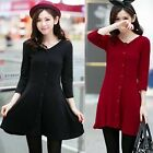 Fashion V-neck 3/4 Sleeve Decorated Buttons Women A Line Mini Dress Stretch New