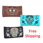 (B11-3 bx)Sugar Skull With Turquoise Stone Concho Trifold Wallet-MJ7006