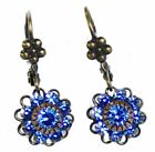 Austrian Crystal Flowerette & Brass Leverback Earrings Nickel Free 662
