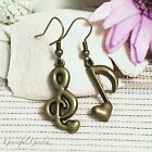 ER2913 Graceful Garden Vintage Style Bronze Tone Love Musical Notes Earrings