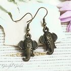 ER2917 Graceful Garden Enthic Indian Style Bronze Tone Elephant Head Earrings