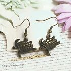 ER2920 Graceful Garden Vintage Style Bronze Tone Tortoise Dangle Charm Earrings