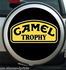 CAMEL TROPHY WITH BLACK BACKGROUND - WHEEL COVER STICKER (CHOICE OF SIZES)