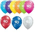 "40th Geburtstag Party Ballons 11"" {Qualatex} 6 x Helium /Alter 40"