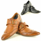 New Mens Casual Formal Slip On Monk Strap Brogue Fashion Shoes In UK Sizes 6-11