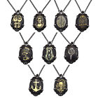 Vintage Mexican Black Frame Skull Anchor Owl Carving Pendant Necklace Steampunk