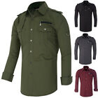 NEW CHEAP Men's Designer Stylish Slim Fit Military Dress Shirts Casual Tops S-XL