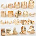 5pcs/Set Geometric Style Gold Alloy Rings Above Knuckle Midi Finger Rings New US