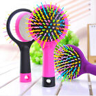 Women Girls Beautiful Rainbow Volume Anti-static Curl Straight Comb Brush+Mirror