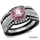 2.25 CT HALO ROUND CUT PINK CZ BLACK STAINLESS STEEL WEDDING RING SET SIZE 5-10
