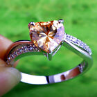 Morganite & White Topaz Gemstone Silver Jewelry Ring Size 6 7 8 9 10 Heart Cut