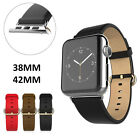 New Leather Strap Band Bracelet For Apple Watch 38/42mm w/Adapter Classic Buckle