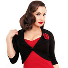 Steady Marilyn Rose Bolero Cardigan Flower Pin Up Retro Rockabilly Black Vintage