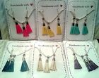 TASSELS necklace & earrings set / silver plated * fab Birthday Valentines Gift