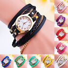 Hot Women VTG Fashion Crystal Bangle Bracelet Faux Leather Quartz Wrist Watch
