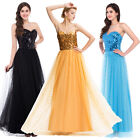 Sexy Sequined Maxi Cocktail Ball Gown Pageant Gold Bridesmaid Prom UK Dress 6-20