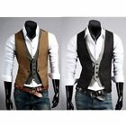 New Mens Slim Fit Contrast Waistcoat double layered design Formal Casual Vest