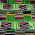 African Print Kente Cloth Cotton Fabric Wax Dyed Green, Purple Gold Black White
