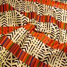 Mixed Wax Dyed African Kente & Mud Cloth Fabric, Cream, Orange & Blue, Mali
