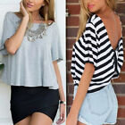 Sexy Womens Short Sleeve Loose T Shirt Summer Casual Tops Blouse