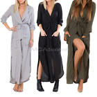 Women Ladies Split Style V Neck Long Sleeve Chiffon Party Irregular Maxi Dress