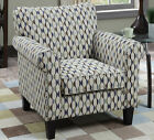 NEW COBAY BEIGE PATTERN or TREE PATTERN FABRIC ROLLED ARM ACCENT CHAIR
