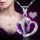Luxury Women Heart Crystal Rhinestone Silver Chain Pendant Necklace Jewelry gift