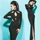 High Neck Cut-outs Side Slit Women's Maxi Full Length Cocktail Party Dress Chic