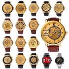 Luxury Skeleton Automatic Mechanical Stainless Steel Leather Men's Wrist Watch