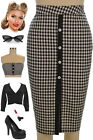 Black GINGHAM CHECK Picnic PINUP 50s Style PENCIL Skirt with BUTTON Details&Slit
