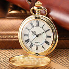 Vintage Polished Case Mother of Pearl Dial Roman Numerals Quartz Pocket Watch