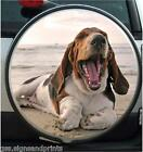 BASSET HOUND ( ON BEACH ) -  WHEEL COVER PRINTED STICKER -  ( CHOICE OF SIZES )
