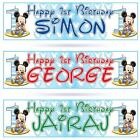 """2 x PERSONALISED 1st BIRTHDAY BABY MICKEY MOUSE BIRTHDAY BANNER 36 """"x 11"""" FIRST"""