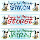 2 PERSONALISED 1st BIRTHDAY BABY MICKEY MOUSE BIRTHDAY BANNE