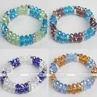 Women Faceted Rondelle Crystal Glass Beads Charm Bangle Bracelet Jewelry Gift
