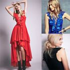 Elegant Ruffles Lace Up Women's Tunic Evening Party Prom High Low Dress Pageant