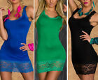 Sexy Women's Lace Splice Sleeveless Bodycon Party Cocktial Club Short Mini Dress