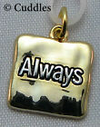 Always Square Charm Necklace Bracelet Gold  Look Metal NEW