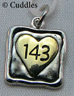 143 Square Heart Charm I Love You Necklace Bracelet Silver/Gold Look Metal NEW
