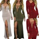 Womens Ladies Lace Up V Neck Stretch Bodycon Dress Long Maxi Slit Dress W9T6