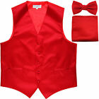 New Men's Red formal vest Tuxedo Waistcoat bowtie  hankie set wedding prom
