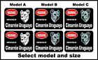 2 Warning protected by Cimarrn Uruguayo guard dog breed decals sticker stickers