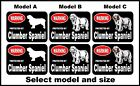 2 Warning protected by Clumber Spaniel guard dog breed decals sticker stickers