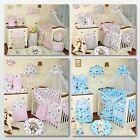 EXCLUSIVE 9, 11 or 18 Pieces Baby Nursery Bedding Set To Fit Cot / Cot Bed