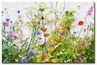 wild flowers canvas picture Poppies reds greens blues purples greens