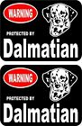 2 Warning protected by Dalmatian guard dog breed decals sticker stickers