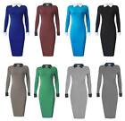 Womens Office Contrast Peter Pan Collar Long Sleeve Pencil Midi Bodycon Dress
